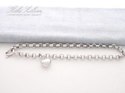 Zilveren jasseron armband met hartje kiki zilver