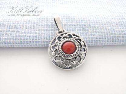 Zilveren hanger Bloedkoraal