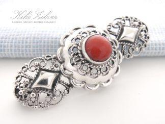 Zilveren Broche Bloedkoraal kiki zilver antiek sieraden